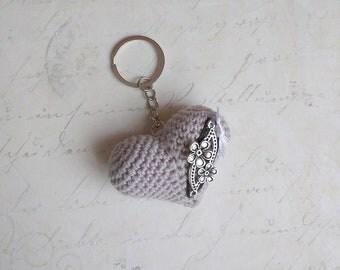 Heart Crochet Metal keychain/Heart Crochet Keychain