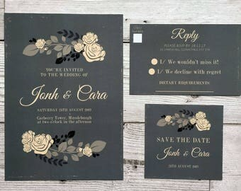 Vintage floral wedding stationery - wedding invitations - floral wedding invites