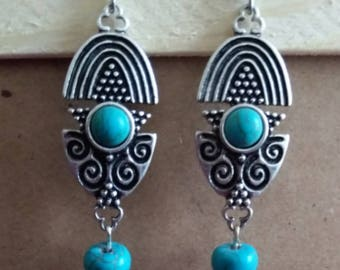 Pretty Turquoise and Designed Silver Earrings