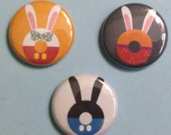 "Donut Disney Rabbits 1"" Buttons - Oswald the Lucky Rabbit - Roger Rabbit - Jessica ""Rabbit"" -"