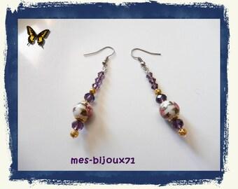 Dark Purple Drop Earrings and Flower Beads - Mid-Length Earrings - Glass Beads