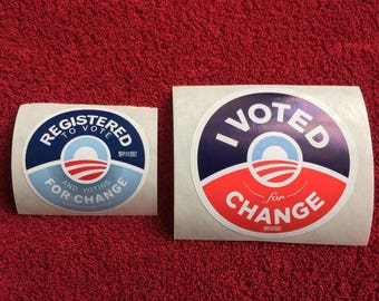 2 (TWO) President Barack Obama : 2008 Campaign Stickers