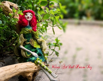 Wiccan Art Doll Poison Ivy the little red haired forest girl