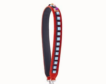 IstrapU-Interchangeable red leather strap with blue studs,Bag strap leather replacement, Strap you
