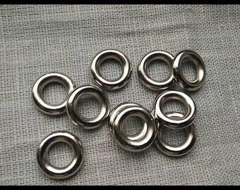 Set of 10 rings CCB look metal 15mm