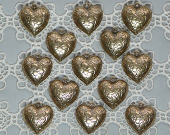 Vintage Style Puffy Heart Charm Antiqued Gold Toned Floral Flowers Repossé Brass 1 Piece