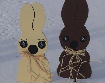 Easter hostess gift etsy chocolate and white chocolate easter bunny yard stakes outdoor easter yard decorations easter hostess negle