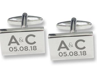Engraved engagement, wedding, anniversary, valentines rectangle cufflinks, rhodium plated - REC1
