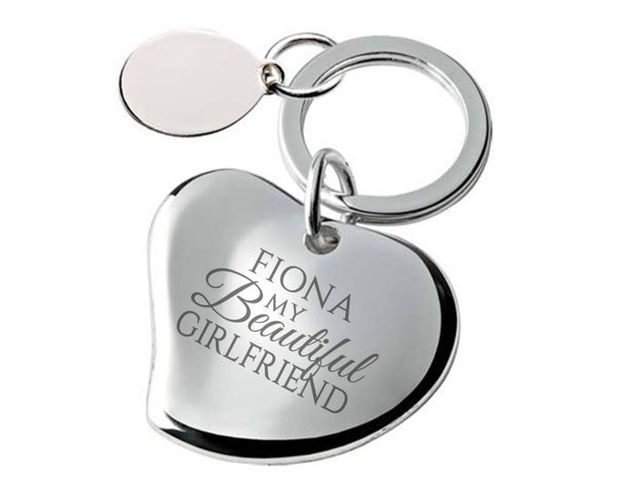 Engraved My beautiful GIRLFRIEND heart keyring gift, SILVER PLATED, personalised contoured heart keyring - 148-BEA2