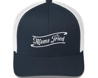 "Merle Haggard ""Mama Tried"" trucker hat Navy Blue"