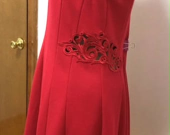 Vintage Fit and Flare Red dress with Cut-Out Lace sides