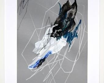 Original abstract illustration, no. 0628, mixed media on paper. 35x50cm. 2017