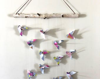 Origami bird wall hanging multicolored