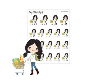 Planner Stickers Doodle Girl Grocery Shopping Stickers