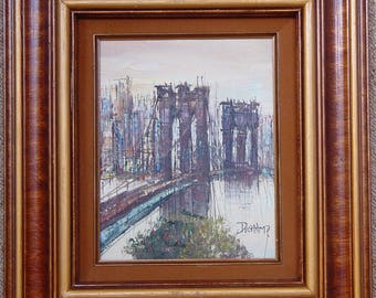 Beautiful oil Panting by H Duchamp of the Brooklyn Bridge-Vintage