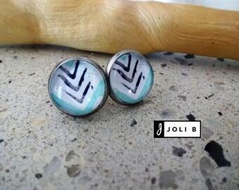 Stainless steel - Stainless earrings - studs - Studs - Stud Earrings - 12 mm glass Cabochons - arrows - Bohemian earrings