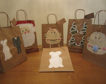 Hand painted paper bags (set of 6)