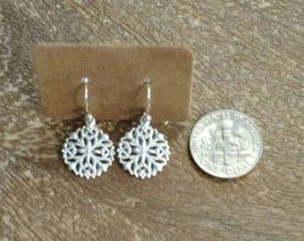 Silver Plated Round Filigree Medallion Hook Earrings