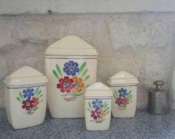Set of 4 Vintage spice jars - model Agnes K & G - Luneville France, floral design painted by hand, 30s