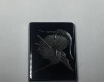 Hematite Intaglio tablet cabochon 20x15