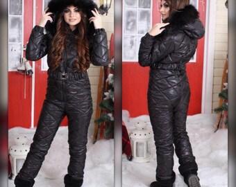 Winter Jumpsuit Womens Playsuit Romper Warm Suit Set Sport Ski Snowboard Skisuit Snowsuit Outwear Damenoverall Glanznylon Skianzug Skioveral