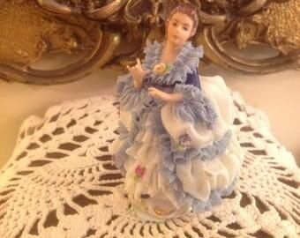 Vintage Dresden Lace Figurine Mueller Volkstedt Germany