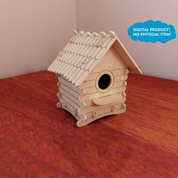 Great wooden birdhouse pattern. Vector plans for CNC router and laser cutting. Template cutting files. Plywood 3mm/4mm/5mm/6mm Cutting files