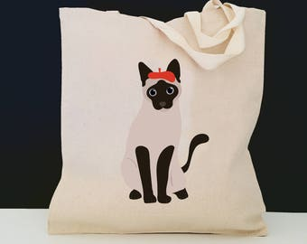 Personalized Siamese Cat Tote Bag (FREE SHIPPING), 100% Cotton Canvas Siamese Cat Tote Bag, Siamese Tote Bag, Cat Totes, Cat, Siamese Gift