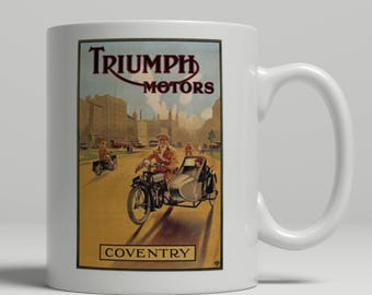 Triumph motorcycle side car vintage advertising poster printed on a new ceramic mug. Loving all things art deco and retro. UK Mug Shop. VA12