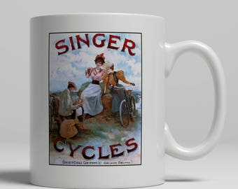 Cyclist bicycle gift Singer bike advertising poster printed on a new ceramic mug. Loving all things art deco and retro. UK Mug Shop. VT 441