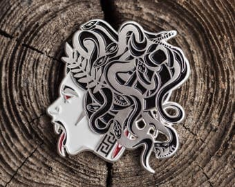 Medusa soft enamel pin 50mm, greek mythology, serpents, gorgon