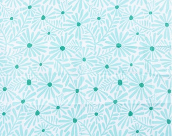 Turquoise Floral Fabric - Bright Floral Fabric - Turquoise Fat Quarter - Cotton Floral Print - Daisy Fabric - Turquoise Flowers - Quilting