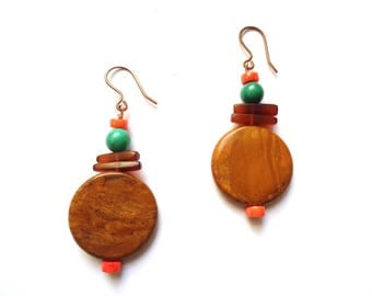 African Jade earrings, natural turquoise, horn and natural coral with copper finish