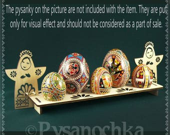 Real plywood pysanka stand for 5 Chicken or Goose Easter Egg. Pysanky (Angels)
