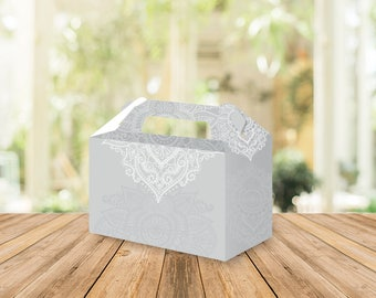 Printable Medhi Gable box, Wedding favors, Bridal shower, wedding favors, party favors, birthday, baptism, Indian wedding, Indian party