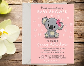 Baby shower invite with Setup, baby shower, baby girl invitation, shower invitation, printable invitation, invitation template