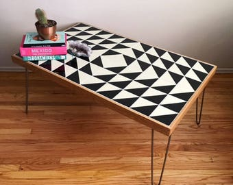 Black And White Talavera Tile Childrenu0027s Table W/ Hairpin Legs