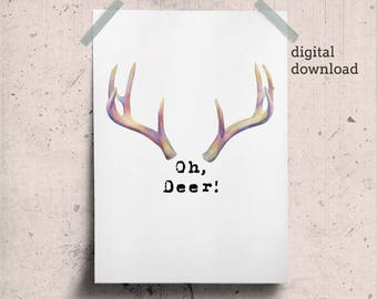 Oh Deer Printable, Deer Antler Poster, Oh Deer Print, Reindeer Antlers, Above Bed Art Instant Download, Rainbow Antlers Art, Large Printable