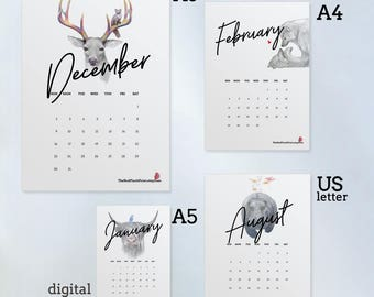 Animal Calendar 2018 Printable, 2018 Desk Calendar, Wildlife Calendar, Monthly Calendar 2018 Download, Funny Calendar, 2018 Wall Calendar