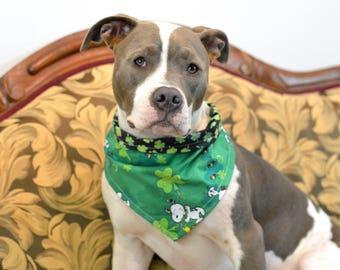 SNOOPS LUCK St. Patrick's Day Watercolor Clover Dark Green - reversible pet bandana - dog bandana - cat bandana - unique pet accessory