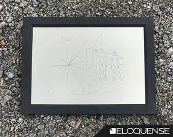 Pioneer Spacecraft Plaque, Pioneer 10, Pioneer 11, Titanium Reproduction, NASA Space Probe Plaque, Unmanned Spacecraft - Laser Marked