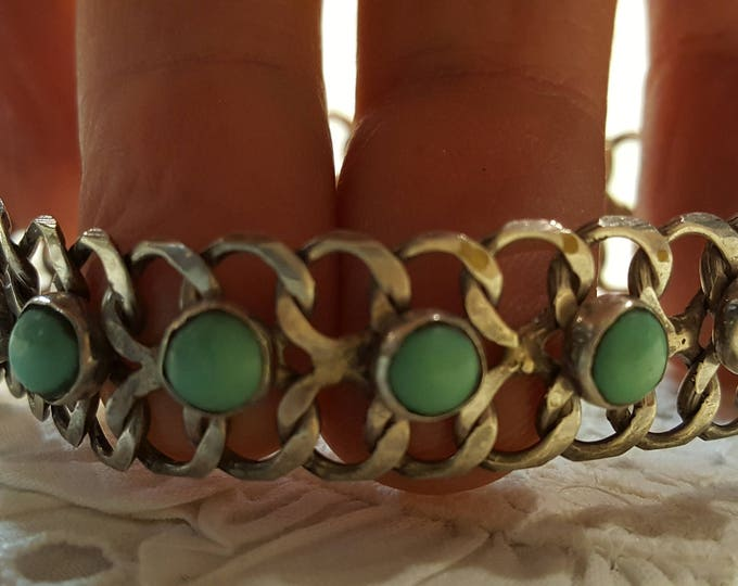 Vintage 1940s Sterling Silver Bracelet with Turquoise Cabochons Curbs Handmade Mexico Mexican