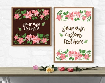 Pink Lilly Typography Poster - Custom Text