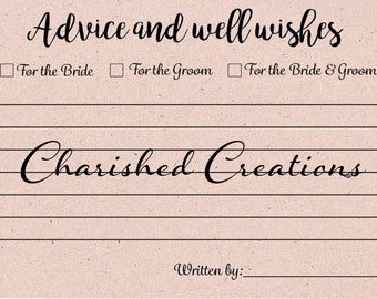 Wedding Guestbook | Marriage Advice Cards | Advice and Well Wishes cards | *INSTANT DOWNLOAD*