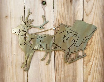 USA Made Christmas Santa Sleigh and Reindeer Metal Wall Hanging Sign Art.  Christmas Decor.  Kitchen Decor Rudolf Sleigh