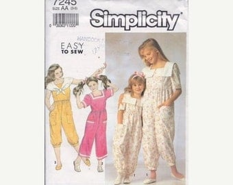 Simplicity 7245 Girls' & Child's Jumpsuit with Collar Sewing Pattern