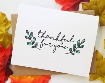 Thankful For You Card, A2 4.25x5.5, Thanksgiving Greeting Card, Thankful
