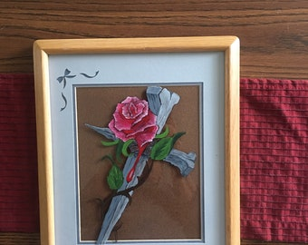 Hand painted cross with rose