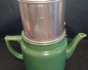 Ford 8 cup Green ceramic drip coffee pot