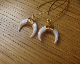 mother of Pearl Horn Gold Plated Moon earrings